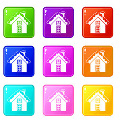 small snowy cottage set 9 vector image