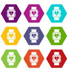 smartwatch icon set color hexahedron vector image
