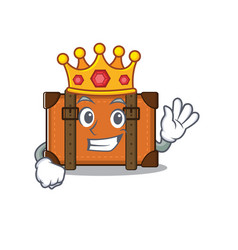 Suitcase with in cartoon king shape vector