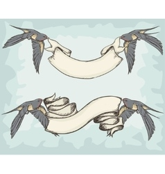 Swallows holding ribbons vector