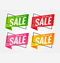 trendy sale banners in different colors vector image
