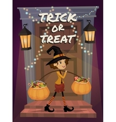 Trick or Treat lettering Child in Halloween vector