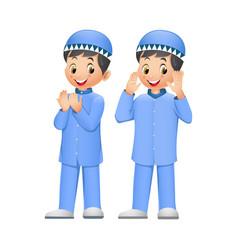 Two cute muslim kid cartoon vector