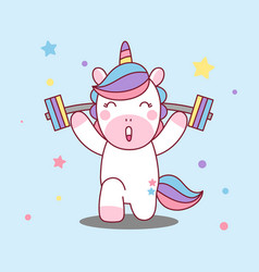 unicorn lifts barbell healthy body vector image