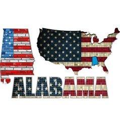 USA state of Alabama on a brick wall vector image