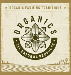 vintage organics all natural products label vector image
