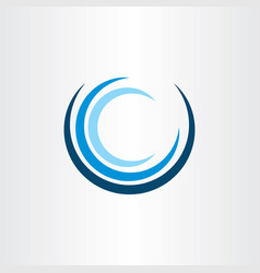 water wave letter o or c tourism logo icon vector image