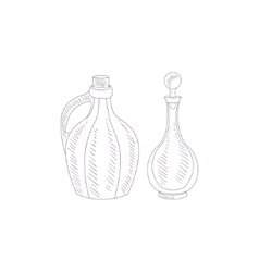 Wine Glass Jug And Pitcher Hand Drawn Realistic vector image