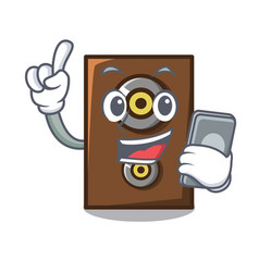 With phone speaker character cartoon style vector