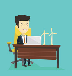 man working with model of wind turbines vector image
