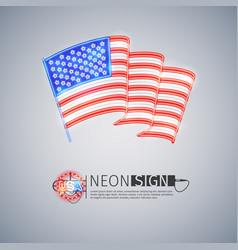 neon sign wavy usa flag on light gray vector image