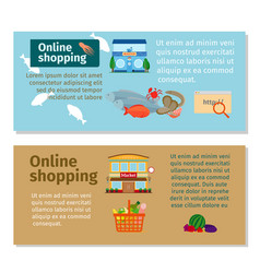 online shopping grocery and seafood flyers vector image vector image