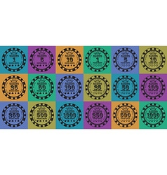 poker chips set black on color vector image