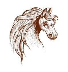 Wild feral horse in aggressive posture sketch vector