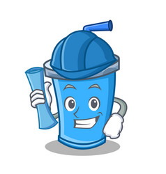 Architect soda drink character cartoon vector