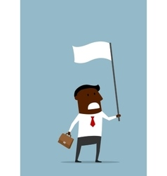 Black businessman with a white flag vector image