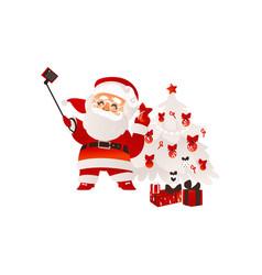 flat santa claus making selfie with present vector image vector image