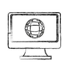 laptop computer globe connection technology icon vector image vector image