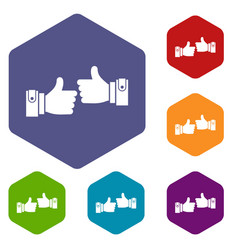 male hands showing ok sign icons set vector image