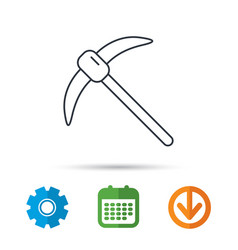 Mining tool icon pickaxe equipment sign vector