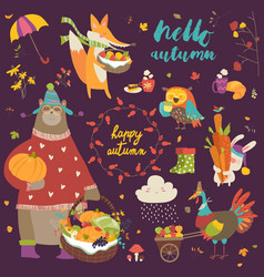 set of cute autumn cartoon characters plants and vector image vector image