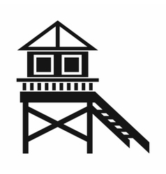 Wooden stilt house icon simple style vector image vector image