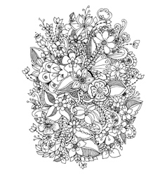 flowers zentangl doodle vector image