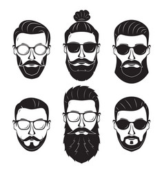 hipsters bearded men with different hairstyles vector image