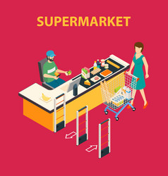 shopping mall supermarket composition vector image vector image