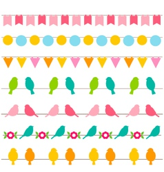 bunting and birds borders set vector image vector image