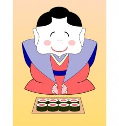 geisha with sushi vector image