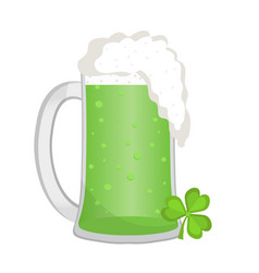 green beer icon flat style st patrick s day vector image
