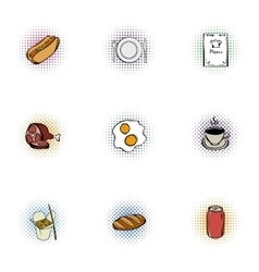 Junk food icons set pop-art style vector image vector image