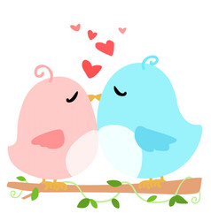 love bird on branch white background vector image vector image