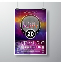 Night Party Flyer Design with copy space vector image