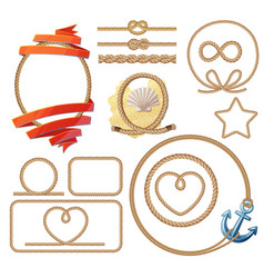 rope knotes and frames set vector image