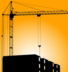 Silhouette of crane on a sunset on a building vector image