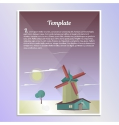 Template brochure landscape with windmill vector image vector image