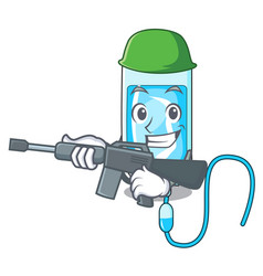Army infussion bottle character cartoon vector