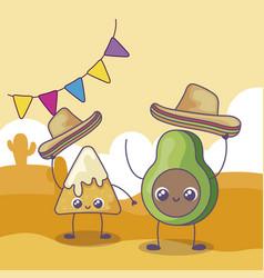 Avocado and nacho with mexican hat kawaii vector
