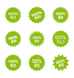 bio and natural food logo icon set 100 percent vector image