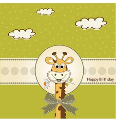 Birthday greeting card with giraffe vector