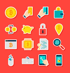 bitcoin cryptocurrency stickers vector image