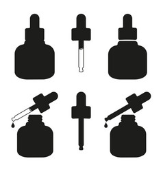 Black and white beauty serum bottle silhouette set vector