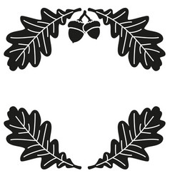 black and white oak branch background silhouette vector image