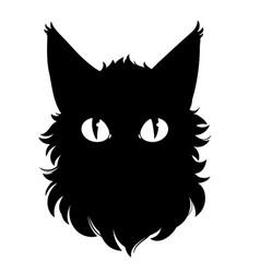 black cartoon cat head with eyes vector image