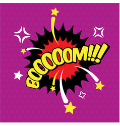 boom comic inscription text speech bubble burst vector image
