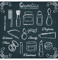 chalkboard cosmetic bottles set 3 vector image