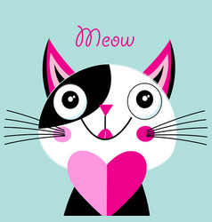 cheerful portrait a cat in love with a heart vector image