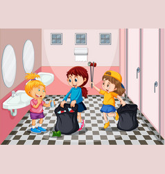 children collecting trash in toilet vector image